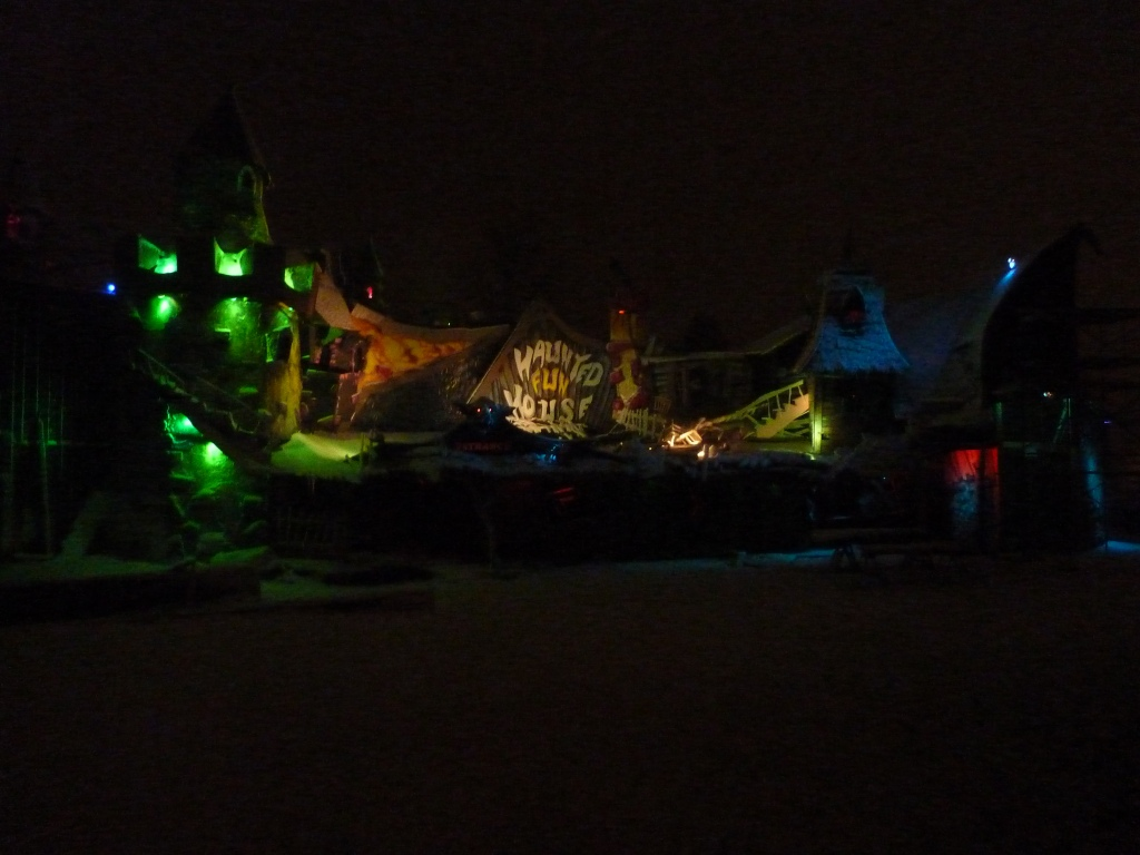 Fun house in the snow